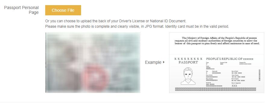 Upload mặt sau cmnd hoặc mặt trong Passport