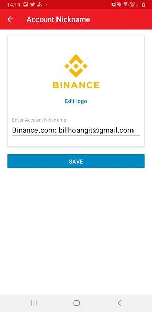 Lưu lại tài khoản Binance trên Authy
