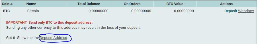 Lấy địa chỉ ví nạp BTC vào Poloniex