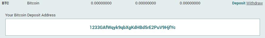 Địa chỉ ví Bitcoin trong Poloniex