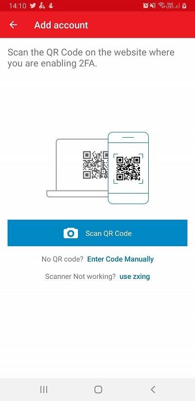 Mở phần mềm Authy lên chọn Add Account