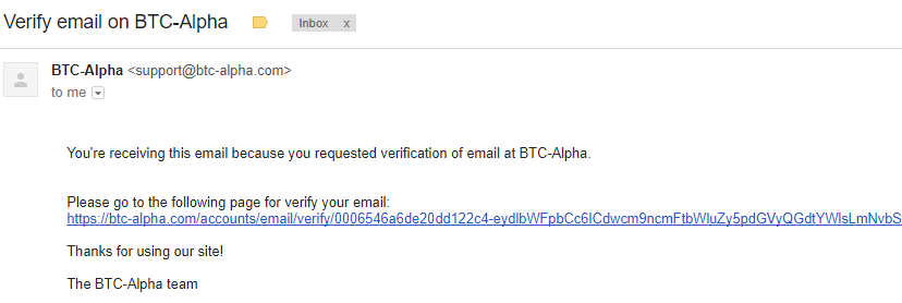 Ấn vào link xác thực địa chỉ email sàn BTC-Alpha