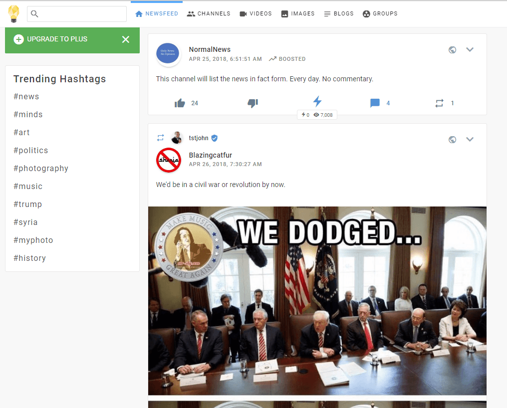 Trang newsfeed của Minds