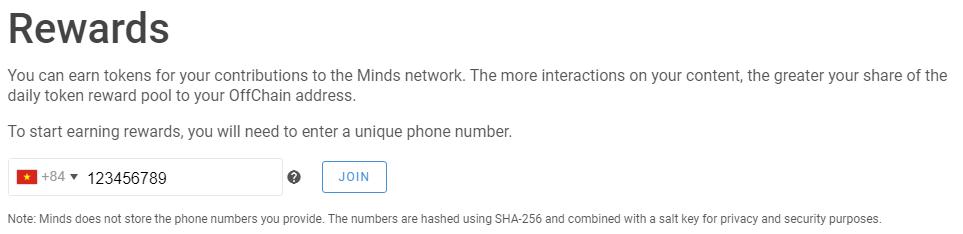 Kích hoạt số điện thoại trên Minds