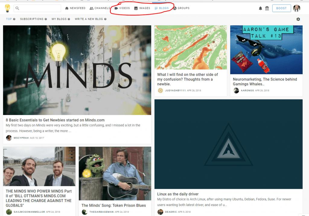 Chuyên mục Videos, Images, Blog của Minds