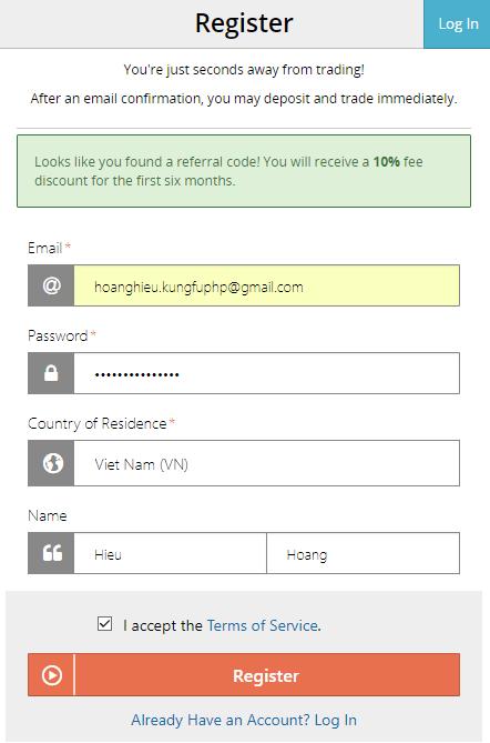 Điền thông tin đăng ký tài khoản Bitmex