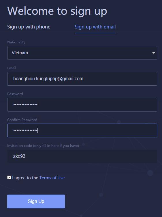 Đăng ký tài khoản Huobi