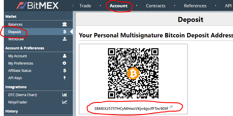 Nạp coin vào tài khoản Bitmex