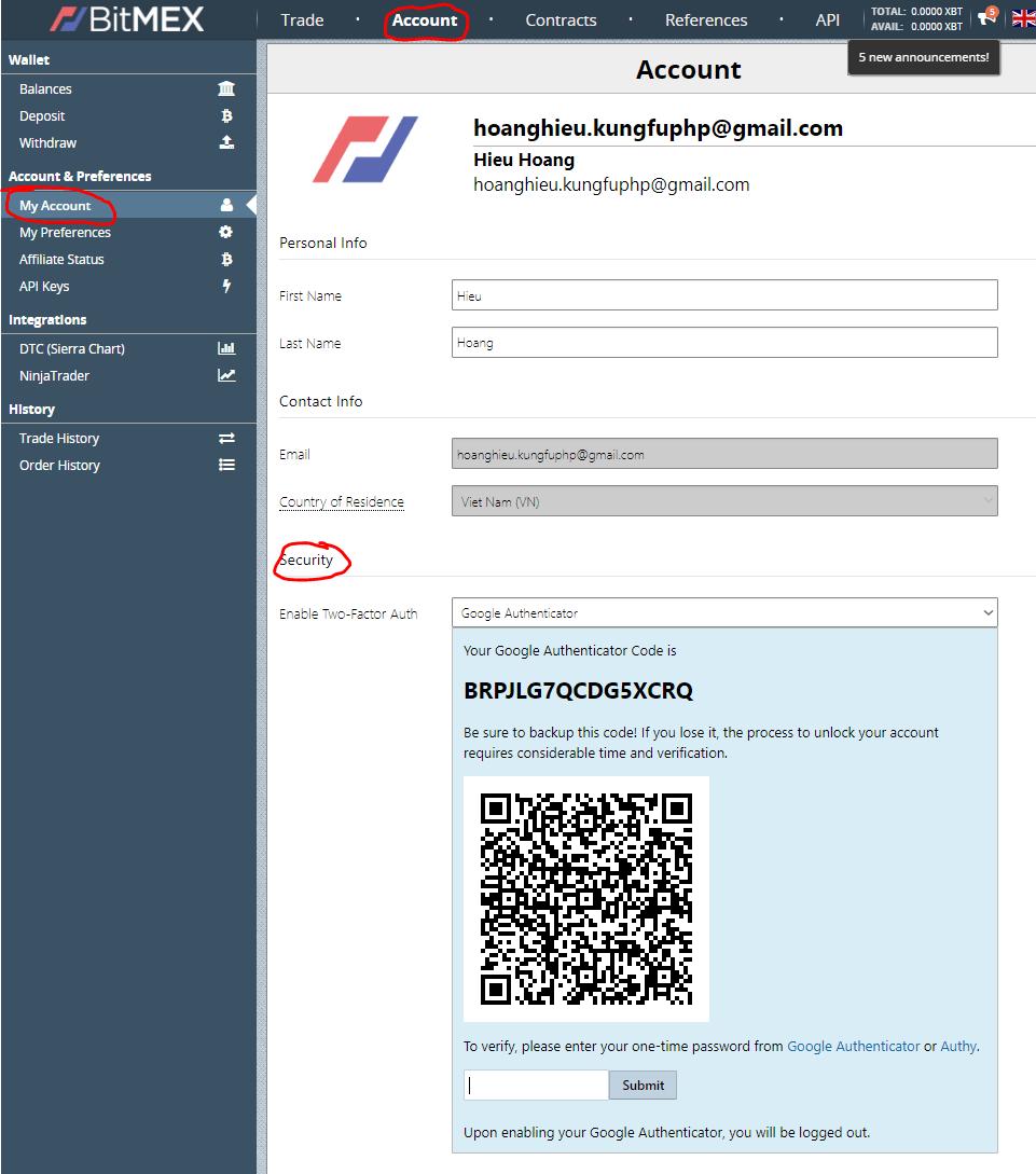 Cài đặt 2FA cho tài khoản Bitmex