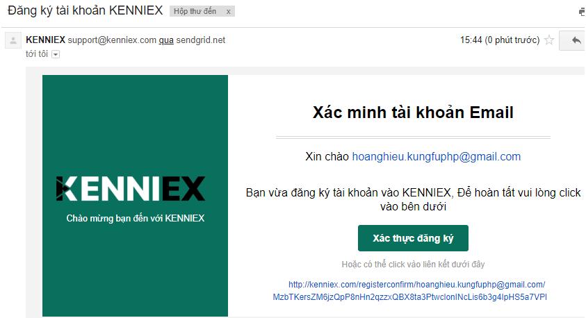 Xác thực địa chỉ email Kenniex