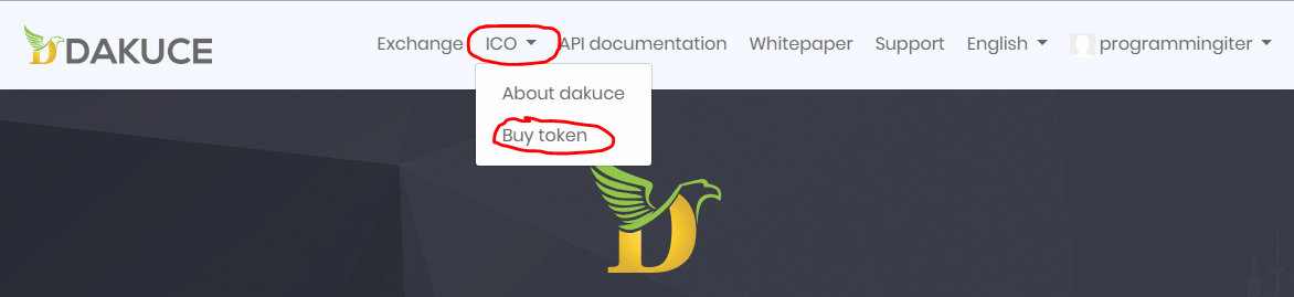 Nhấp vào giao diện mua ICO DAKU