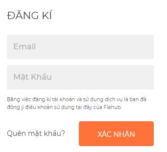 Điền thông tin đăng ký Fiahub