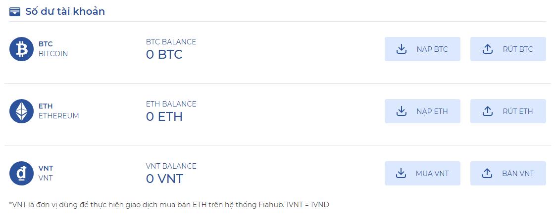Số dư tài khoản trên Fiahub của bạn