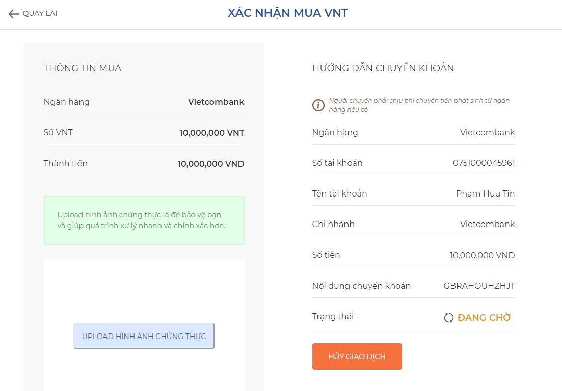 Thông tin chuyển khoản thanh toán ngân hàng Vietcombank