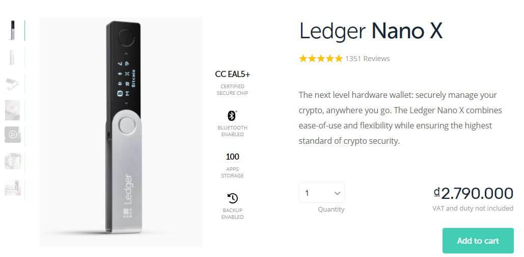 Thêm sản phẩm ví Ledger Nano X vào giỏ hàng