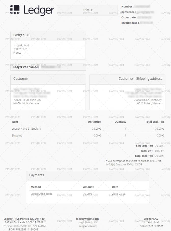 Thông tin đơn hàng mua Ledger Nano S