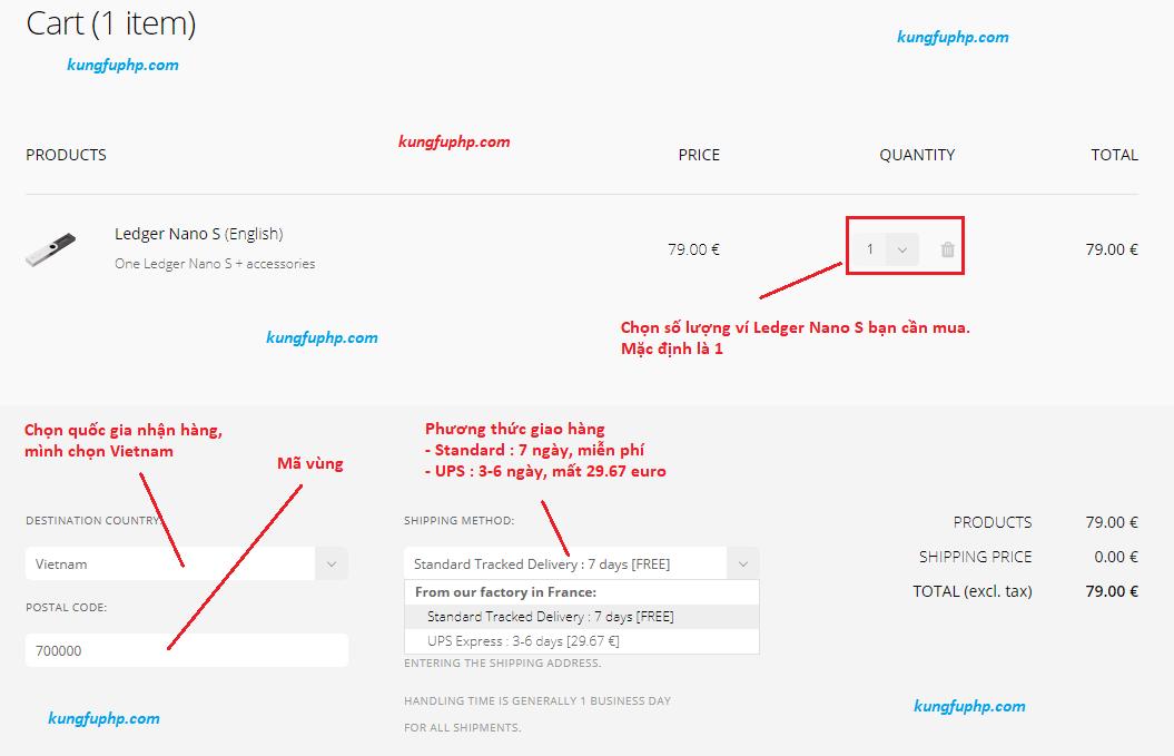Điền thông tin cơ bản để mua ví Ledger Nano S