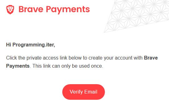 Xác thực địa chỉ email Brave Payment