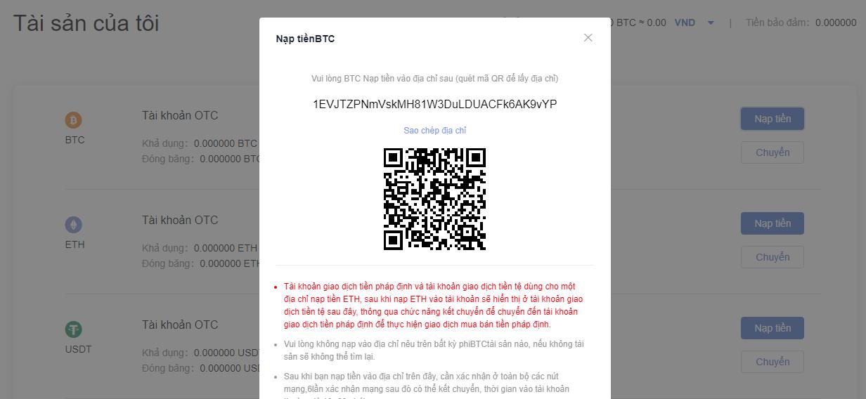 Gửi Bitcoin vào địa chỉ ví đã cho