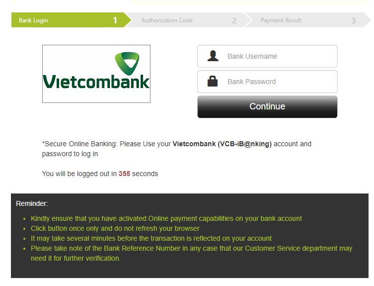 Điền thông tin internet banking của ngân hàng