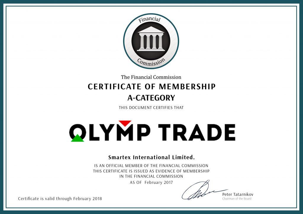 Giấy chứng nhận Olymp Trade cấp bởi Finacom