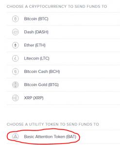 Chọn loại token cần chuyển đi