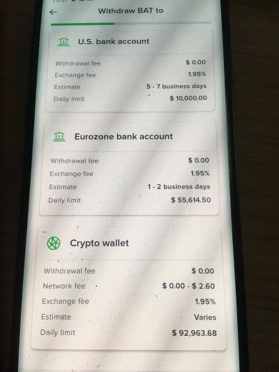 Chọn Crypto Wallet vì ngân hàng Uphold chưa hỗ trợ - hướng dẫn rút tiền từ Brave