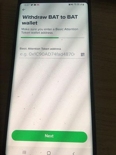 Điền địa chỉ ví BAT cần rút về rồi ấn Next