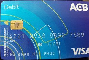 Hình minh họa thẻ Visa của ngân hàng ACB