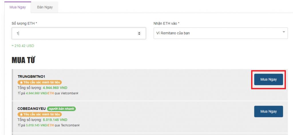 điền thông tin mua ethereum