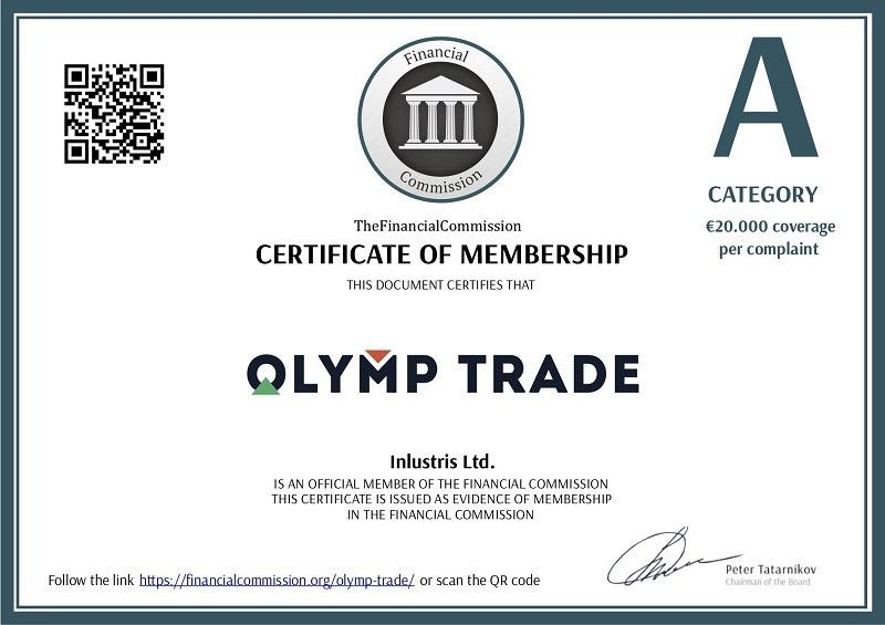 Giấy chứng nhận Olymp Trade mới nhất
