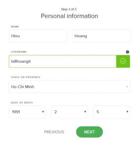 Điền thông tin cá nhân Uphold