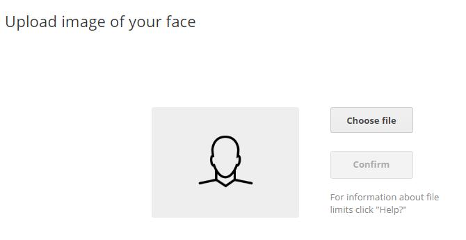 Upload hình ảnh mặt khuôn mặt của bạn