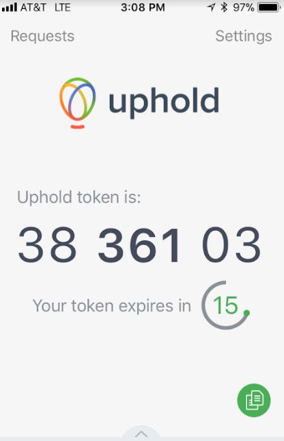 Mã code Uphold trên ứng dụng Authy