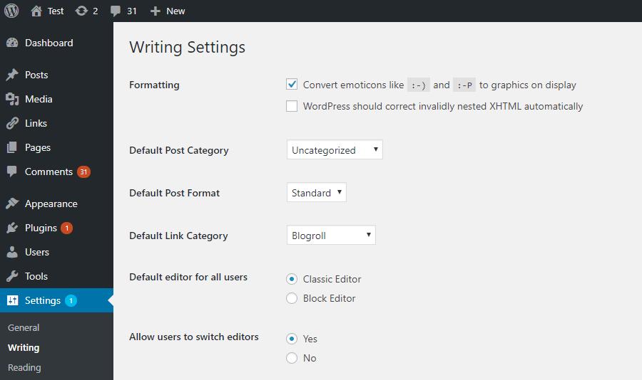 Tùy chọn trình soạn thảo Classic Editor