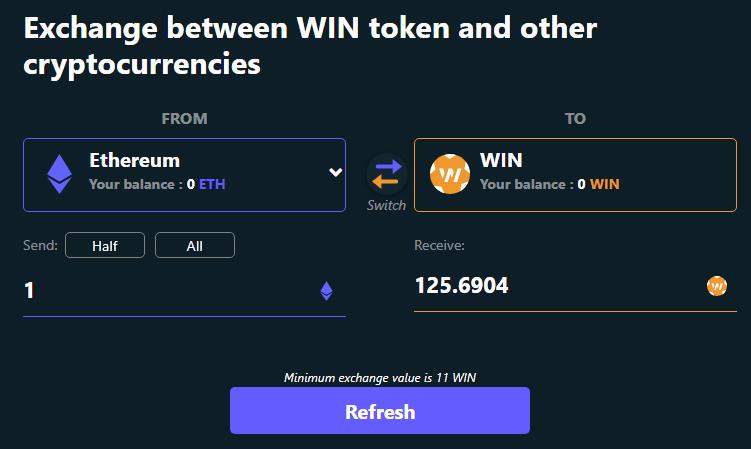 1 ETH = 125 WIN tại thời điểm bài viết