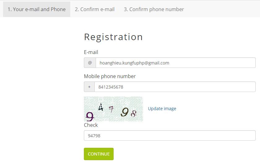 Điền thông tin đăng ký tài khoản E-NUM