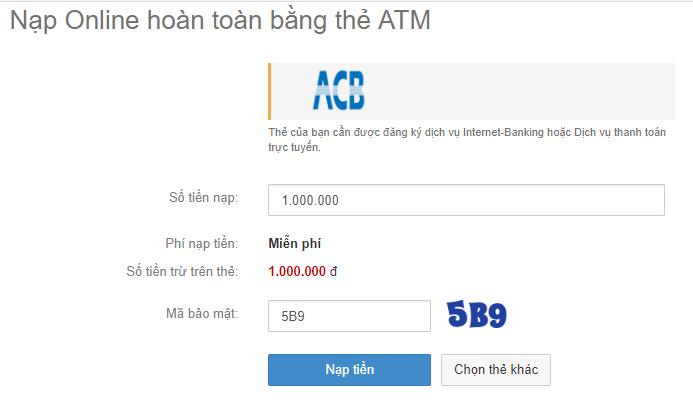 nạp tiền vào ngân lượng bằng ACB