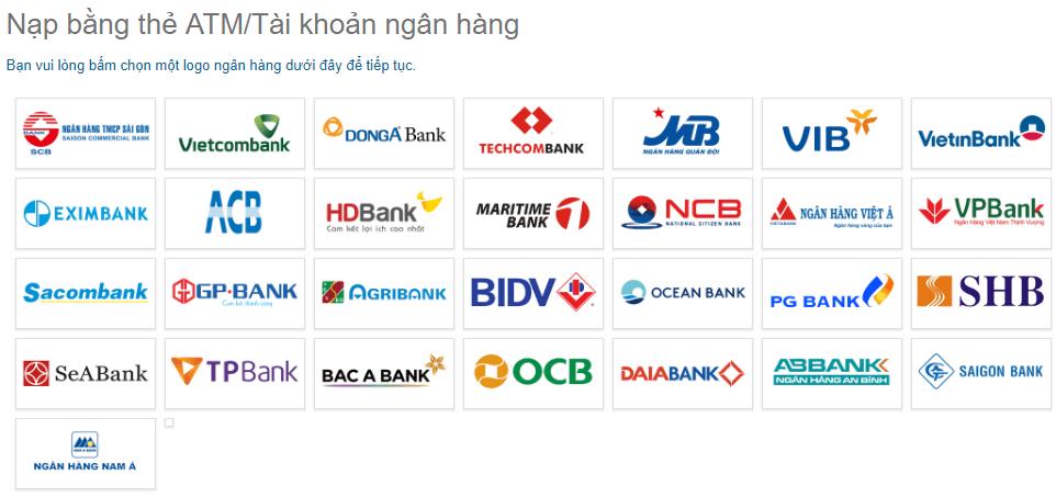 chọn ngân hàng dùng để nạp vào ngân lượng