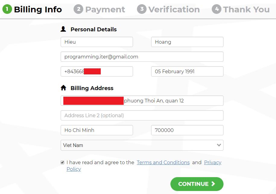 Điền thông tin thanh toán mua coin trên binance