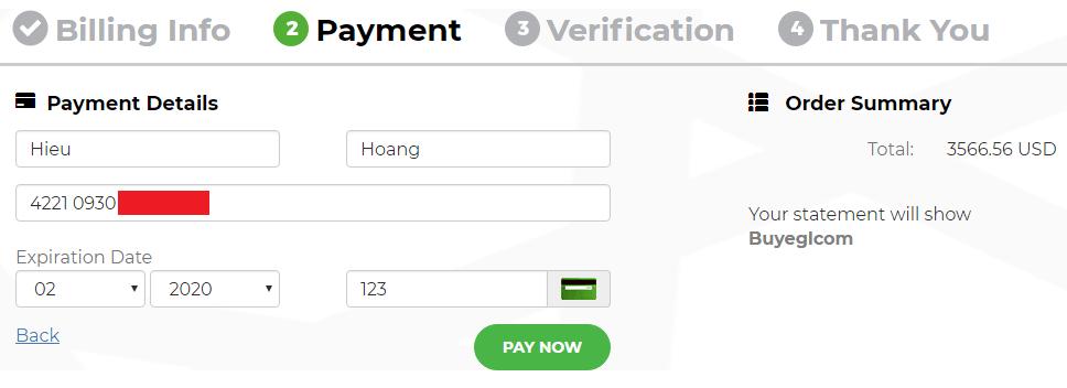 Điền thông tin thẻ tín dụng của bạn