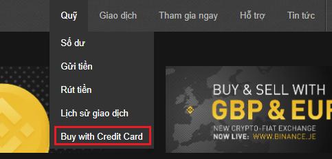 Chọn mua coin với thẻ tín dụng