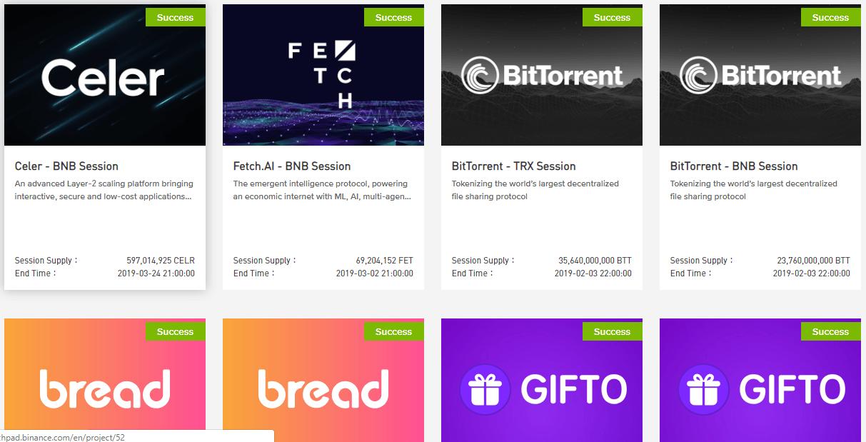 Các Token được bán trong Binance Launchpad