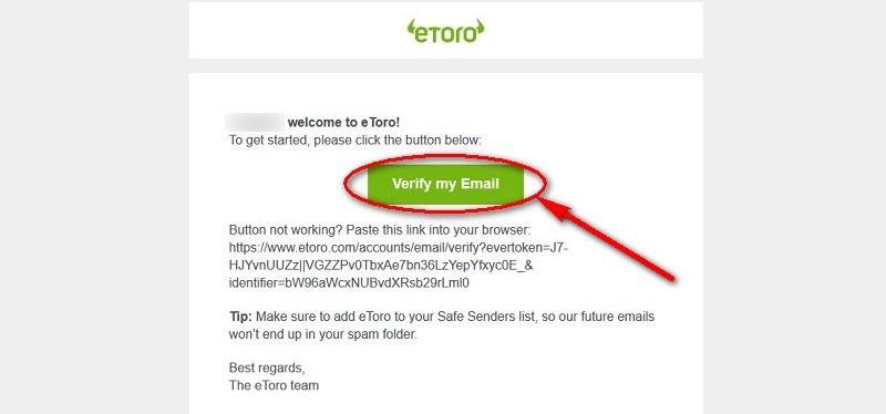 Xác thực địa chỉ email trong etoro