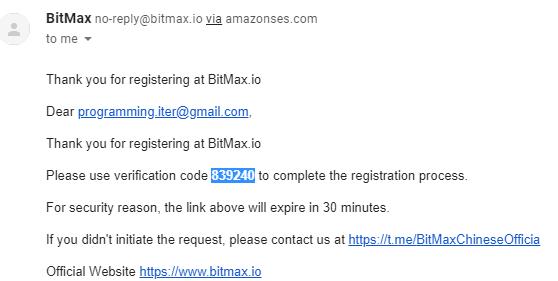 mã code email xác thực bitmax