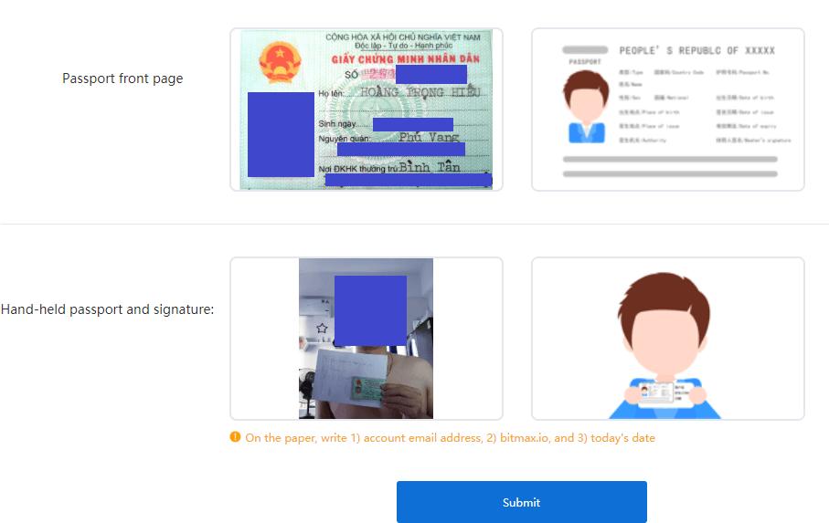upload tài liệu xác thực bitmax