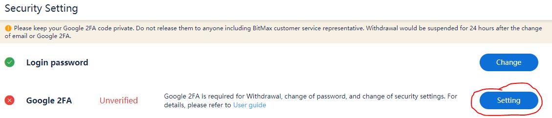 Cài đặt Google 2Fa cho Bitmax