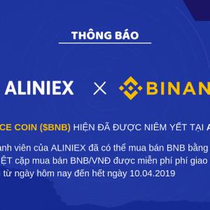 Sàn giao dịch Aliniex triển khai mua đồng BNB trực tiếp bằng VND