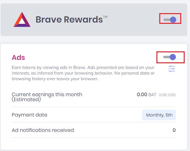 Bật chế độ kiếm tiền xem quảng cáo trên Brave