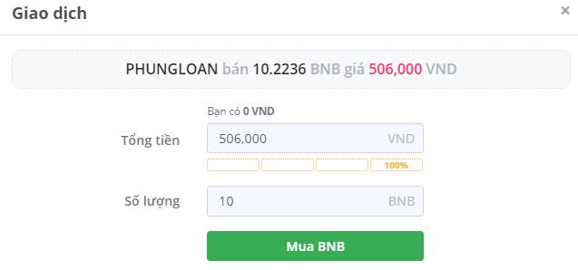 Điền số lượng BNB muốn mua